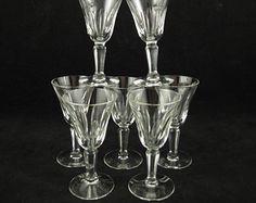 "Set of (8) Vintage Skruf Swed / Swedish Oval Cut Crystal Cordial Glasses, Rare, 4"""