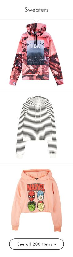 """""""Sweaters"""" by shawtyhilfiger ❤ liked on Polyvore featuring tops, hoodies, hba, hood by air, patterned hoodies, summer hoodie, summer hoodies, red hoodie, red hooded sweatshirt and sweaters"""