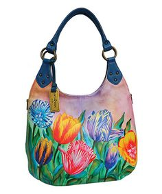 Look what I found on #zulily! Turkish Tulips Hand-Painted Leather Hobo #zulilyfinds