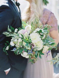 Green, white + purple bridal bouquet