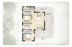 Cabin Style House Plan - 2 Beds 2 Baths 1230 Sq/Ft Plan #924-2 Floor Plan - Main Floor Plan - Houseplans.com