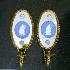 Wedgwood Jasperware accented - Pair of candle holders/scones with mirror