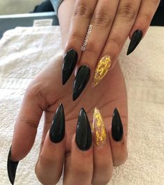 Black Stiletto nails with Gold Foils #stilettonails