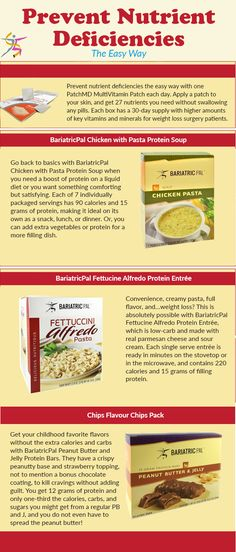 Prevent nutrient deficiencies the easy way with one PatchMDMultiVitamin Patch each day. Apply a patch to your skin, and get 27 nutrients you need without swallowing any pills. Each box has a 30-day supply with higher amounts of key vitamins and minerals for weight loss surgery patients.Go back to basics with BariatricPal Chicken with Pasta Protein Soup when you need a boost of protein on a liquid diet or you want something comforting but satisfying. Each of 7 individually packaged servings…