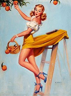 "Vintage Pinup Art Girl //Picking Peaches Pin Up ""Peach of a Girl"" by Robert… Pin Up Vintage, Retro Pin Up, Estilo Pin Up Retro, Vintage Art, Vintage Girls, Pinup Art, Pin Up Posters, Poster S, Poster Prints"