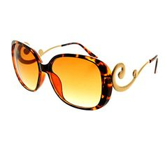 f68c39988d3 Designer style womens oversized sunglasses with large frame and swirled  arms Sunglasses dimensions  Frame Height  Width