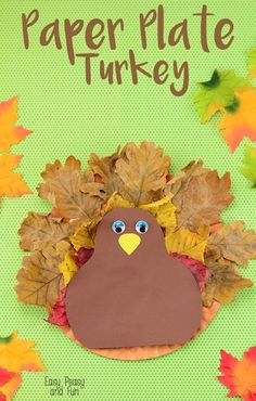 Paper Plate Turkey Craft with leaves - repinned by @PediaStaff – Please Visit ht.ly/63sNtfor all our pediatric therapy pins