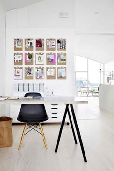 dream home office - love the clipboards as (highly functional) wall art!