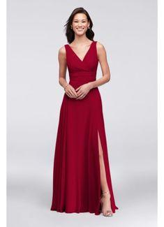 Long Orange Soft & Flowy Bridesmaid Dress