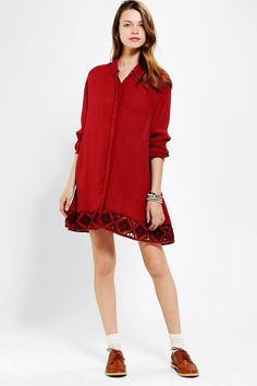 #UrbanOutfitters          #Women #Dresses           #breezy #shirtdress #content #slouchy #gauze #button-down #shine #cutout #wing #hem #maroon #long-sleeve #wash #cut #little #machine #care #model #fit #front #size                   We All Shine By MINKPINK Little Wing Shirtdress     Breezy, crinkled gauze long-sleeve shirtdress from We All Shine by MINKPINK. Topped with button-down front with an embroidered cutout hem. Cut in a relaxed, slouchy fit.  CONTENT   CARE - Viscose - Machine wash…