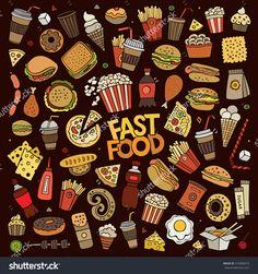 彩色矢量手绘涂鸦漫画组对象和符号在快餐的主题-食品及饮料,物体-海洛创意(HelloRF)-Shutterstock中国独家合作伙伴-正版素材在线交易平台-站酷旗下品牌