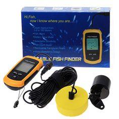 Portable Fish Finder Sonar Sounder Alarm Transducer 0.7-100m echo sounder
