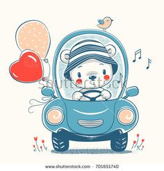 Cute baby bear driving car cartoon hand drawn vector illustration. Can be used for baby t-shirt print, fashion print design, kids wear, baby shower celebration greeting and invitation card.
