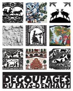 Swiss découpage at the Musée du Pays -d'Enhaut at Château d'Oex in Vaud. Swiss Design, Learn Art, My Heritage, Paper Cutting, Vintage Posters, Art Lessons, Fashion Art, Folk Art, Decoupage