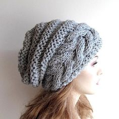 Braided Cable Beehive Hat Slouchy Beanie Slouch Hats Oversized Baggy cabled  hat womens fall winter accessory Hand Made Knit 1d4499aba9c