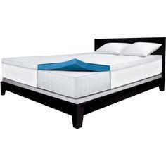Sleep Innovations 2 inch Gel Memory Foam Mattress Topper, White