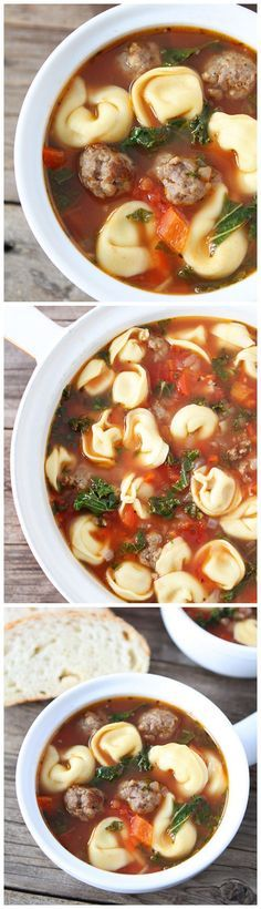 Italian Sausage Tortellini Soup: Hearty soup with Italian sausage, cheese tortellini, red peppers, and kale. Everyone always requests this recipe!