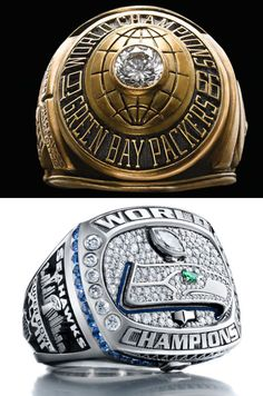 STRANGE SPORTS AWARDS - COMPARE THE 1ST SUPERBOWL NFL CHAMPION RING TO THE 2014 VERSION!