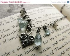 CLEARANCE SALE Aquamarine Necklace / Artisan by MossyCreekStudio