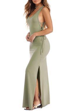 Olive Side Glance Maxi Dress via @bestmaxidress