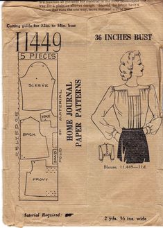 1940s Back Buttoned Blouse Pattern Home by allthepreciousthings