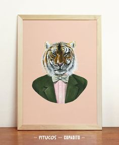 Tiger Art Print  Giclee Poster Wall Art Draw Original by Pitucos