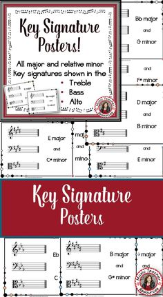 Key Signature Posters Classroom Decor Set  Charts/Posters: ALL Major and relative minor key signatures displayed in the Treble, Bass and Alto clef...... PLUS Bulletin Board letters to spell out 'KEY SIGNATURES', for your music room!
