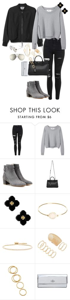 """Untitled #186"" by thinguyen-x ❤ liked on Polyvore featuring Topshop, Acne Studios, Gianvito Rossi, Yves Saint Laurent, Tory Burch, Marc by Marc Jacobs, Michael Kors, Forever 21, Gorjana and Coach"