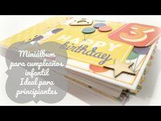 Miniálbum de scrapbooking para cumpleaños infantil para principiantes/Tutoriales y encuadernaciones - YouTube