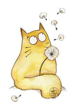 » Maria van Bruggen. Смешные коты » Картинки, эскизы, рисунки карандашом и тушью.