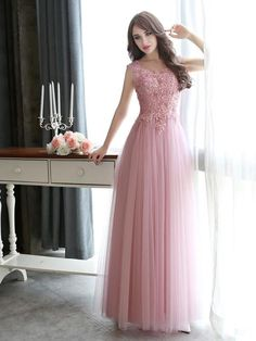 Hey visit once! You will always find the latest trends and styles, checkout this Prom Dresses Long Lace Applique Beaded Tulle Floor Length Backless Formal Party Dress at here! A Line Prom Dresses, Beautiful Prom Dresses, Cheap Prom Dresses, Party Dresses, Long Dresses, Ball Dresses, Pink Evening Dress, Formal Evening Dresses, Pink Dress