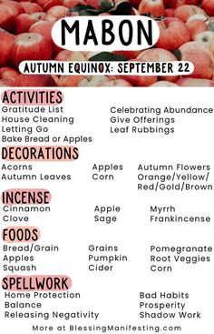 autumnal equinox mabon correspondences This post may contain affiliate links, which means I may earn a small percentage of any purchases. The Autumn Equinox, the start of fall, the wi Wiccan Sabbats, Wicca Witchcraft, Magick, Paganism, Mabon, Under Your Spell, Baby Witch, Eclectic Witch, Book Of Shadows