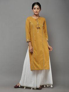 Mustard Cotton Gota Kurta Kurti Neck Designs, Kurta Designs Women, Blouse Designs, Pakistani Dresses Casual, Indian Dresses, Indian Outfits, Stylish Dresses, Simple Dresses, Casual Dresses