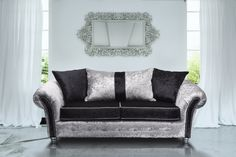 Our Veronica Range is a stunningly beautiful design, with elegant scroll arms featuring intricate stud work, matching piping on the seat cushions and button features on the front of sofa. Simple Living Room, Living Room Modern, Living Room Sofa, Living Room Furniture, Living Room Designs, Living Room Decor, Living Spaces, Crushed Velvet Sofa, Green Velvet Sofa