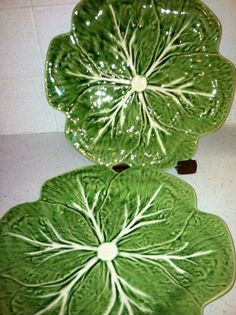 Majolica Style Green Cabbage Leaf Portugal Plates by MirandasMix, $22.00
