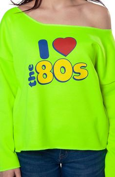 Neon I Love 80s Cut Off Sweatshirt