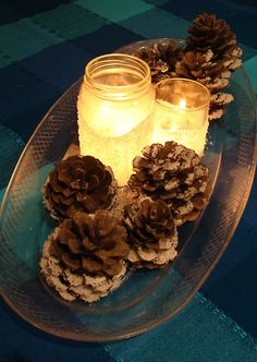 •kosher salt   •recycled jars, drinking glasses, candle jars   •pinecones   •a long tray, I used a long plastic oval serving platter (the kind that are meant to be disposable but are too nice to throw away)   •white glue or modge podge