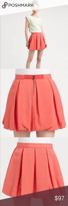 """Alice + Olivia Rhymes Bubble Skirt Alice + Olivia's summer-ready skirt is built to thrill on the party circuit, turning heads with a twirl-worthy, bubble skirt. Laid flat across @ waist: 15"""", Length: 16.5"""". Color: Blush NWT Alice + Olivia Skirts Mini"""