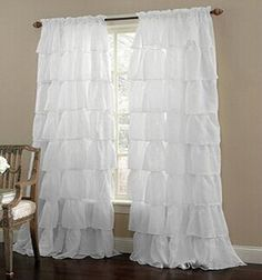 Multi layer Lace Curtain for Girl's Bedroom Semi shade Blinds Sheer Curtain