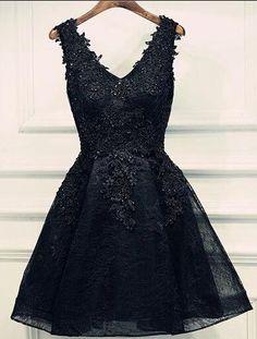 V-Neck Black Short Prom Dresses, Beading Homecoming Dresses,