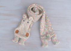 Woolen hippo long animal scarf hippo white with colour additions wool scarves original funny scarf winter gift Cute Hippo, Baby Hippo, Hippopotamus For Christmas, Hooded Scarf, Pretty Images, Team Gifts, African Safari, Wool Scarf, Crochet Projects