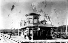 Photo Number:  MAT000666 Photographer:  unknown Location:  Scotia Jct, ON Railway Name:  OTTAWA ARNPRIOR & PARRY SOUND Subject:  Station... Ottawa Valley, Pork Broth, Train Stations, Towers, Ontario, Trains, Past, Cathedral, Buildings
