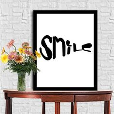 SMILE Print Home Decor Typography Poster Motivational Quotes Digital Ouotes Print Digital Typography Art Wall Decor Poster 8X10 11x14 by sweetdownload on Etsy