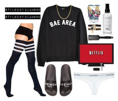 """""""Netflix & Chill"""" by diamxo ❤ liked on Polyvore featuring Calvin Klein Underwear, Reeds Jewelers, Givenchy, American Apparel, Sephora Collection, Marc by Marc Jacobs and Topshop"""