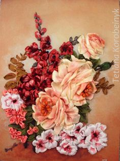 Flowers ,  Silk ribbon embroidery