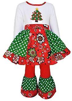b89c6d913615a AnnLoren Girls Boutique Panel Christmas Tree Dress 2 pc Outfit Christmas  Dress Up, Christmas Unicorn