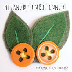 DIY Button Craft : DIY Felt and Button Boutonniere