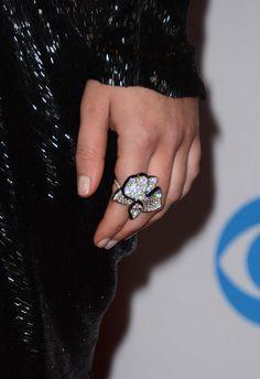 Jennifer Lawrence: Jennifer Lawrence chose a jeweled floral Cartier cocktail ring.