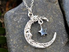 Wise moon and star necklace - Crescent man on the moon, black hematite | NightOwlJewelry - Jewelry on ArtFire