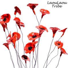 ✨✨✨✨✨Welcome April✨✨✨✨✨ Ornamental Tea Light Holder Red Garden of Ceramic Poppy Flowers